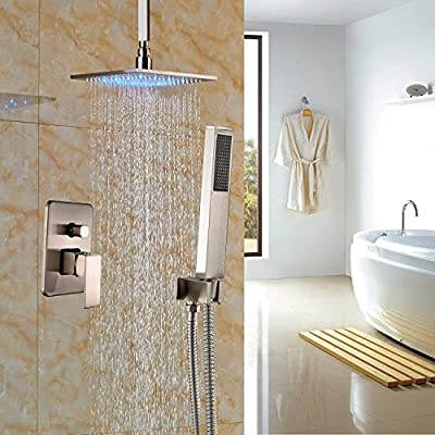 """Rozin Ceiling Mounted LED Light 12"""" Rain Showerhead 2-way Mixer with Hand Spray Brushed Nickel"""