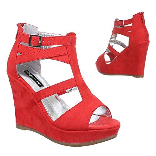 Ital-Design Damen Schuhe, 2354-KL, Sandaletten Keil Pumps mit Riemchen Rot