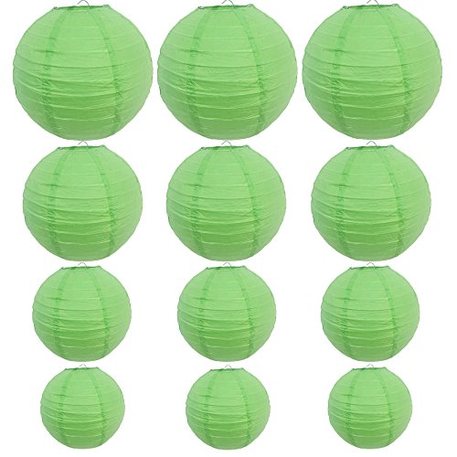 12-Packs-Round-Chinese-Paper-Lanterns-Assorted-Sizes-6Inch-8Inch-10Inch-12Inch-BirthdayWedding-Party-Ceiling-Hanging-Decoration-Green