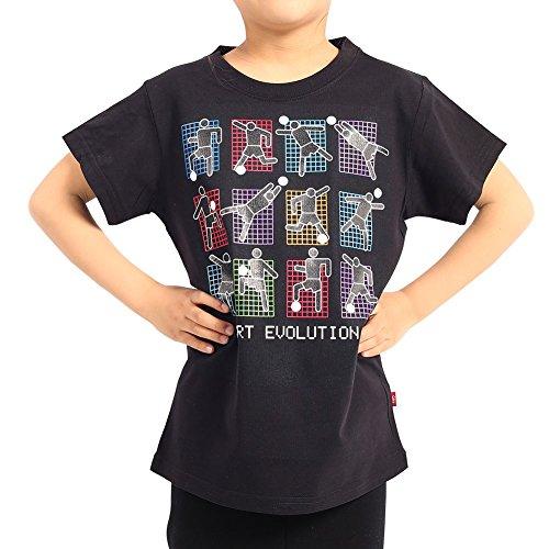 COOLGOOD Big Boys Funny Youth T-Shirt Sport Evolution Goalkeeper Soccer (Black, 7/8 (Evolution Soccer Goal)