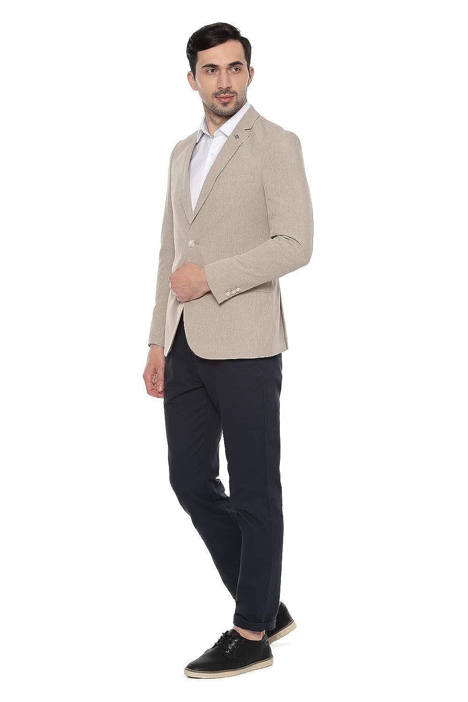 Beige Slim Blazer For Men's