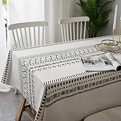 "Lahome Boho Style Geometric Tablecloth - Cotton Linen Table Cover Kitchen Dining Room Restaurant Party Decoration (White… - DRESS UP YOUR DINNER TABLE - Lahome Bohemian tablecloth measures 60"" (150 cm), is heavy weight, eco-friendly, and long-life used. Fits tables that seat 4 people HEALTHY AND ECO-FRIENDLY - Cotton linen material gives you comfortable feeling and has strong anti-static ability, soft and breathable, good for your health EASY TO CARE FOR - Machine washable in cold water. Tumble dry low heat or air dry; Warm ironing if needed. No bleaching - tablecloths, kitchen-dining-room-table-linens, kitchen-dining-room - 51bqKEXnPeL. SS400  -"