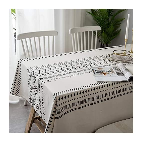 "Lahome Boho Style Geometric Tablecloth - Cotton Linen Table Cover Kitchen Dining Room Restaurant Party Decoration (White, Round - 60"") - DRESS UP YOUR DINNER TABLE - Lahome Bohemian tablecloth measures 60"" (150 cm), is heavy weight, eco-friendly, and long-life used. Fits tables that seat 4 people HEALTHY AND ECO-FRIENDLY - Cotton linen material gives you comfortable feeling and has strong anti-static ability, soft and breathable, good for your health EASY TO CARE FOR - Machine washable in cold water. Tumble dry low heat or air dry; Warm ironing if needed. No bleaching - tablecloths, kitchen-dining-room-table-linens, kitchen-dining-room - 51bqKEXnPeL. SS570  -"