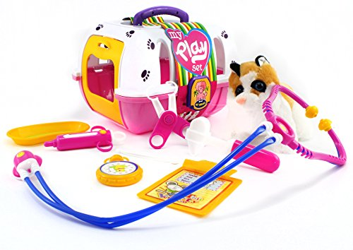 The Pet Vet, Portable Animal Clinic Toy Set for Kids - Kitten Included! (10 Pieces) - Pet Clinic