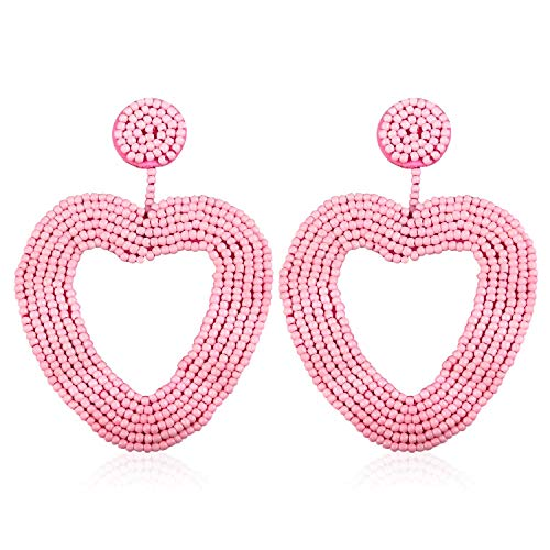 Heart Statement Bead Hoop Earrings Handmade Beaded Drop Dangly Earrings for Women Girls Bohemian Novelty Fashion Lightweight Dating Studs Ear Jewelry Accessories with Gushion Gift Box GUE135 Pink ()