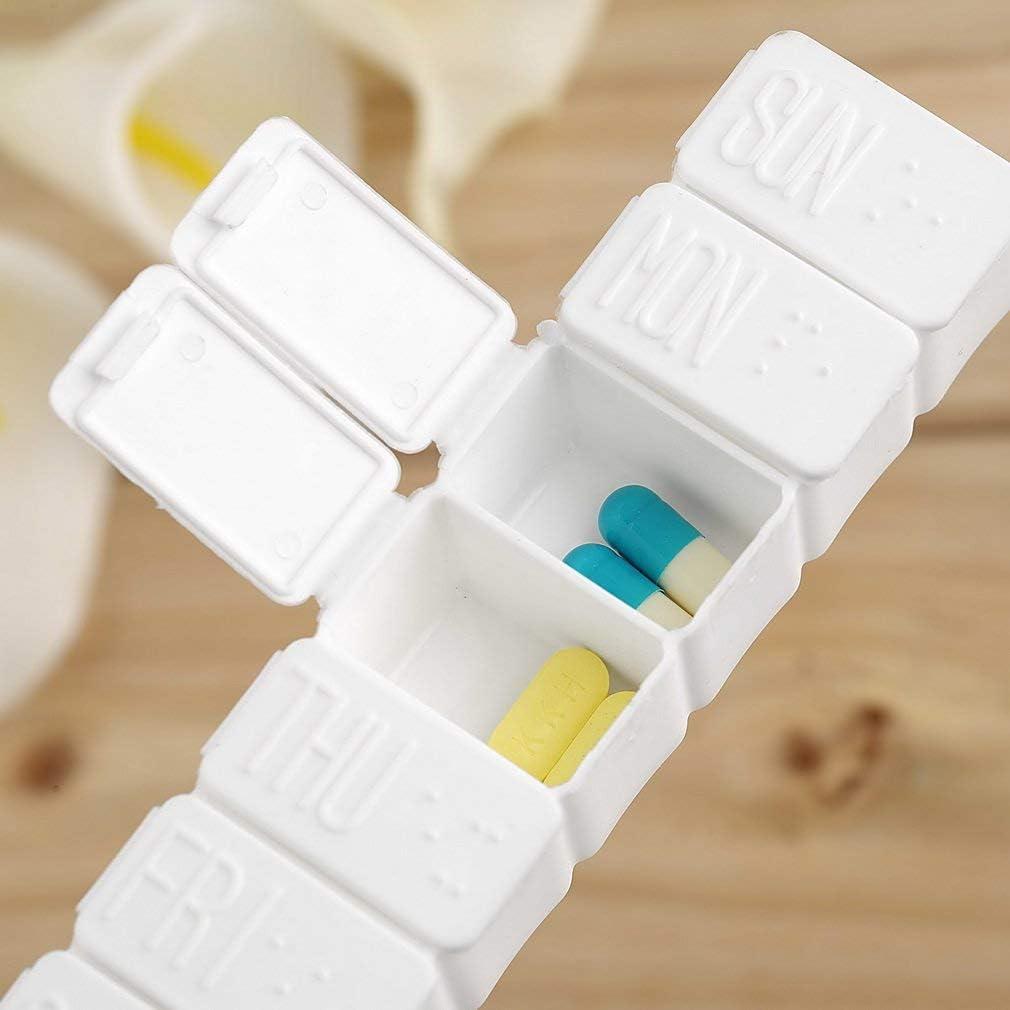 ANR 1pc Una Semana 7 d/ías Pastilla de Medicina peque/ña Caja de medicamentos Pastilla de medicamento Mini contenedor de Pastillero Soporte de Caja de pl/ástico no extra/íble