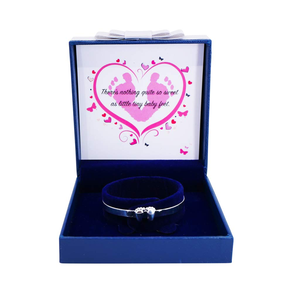 Sincerely For You Christening Gift Baby Bangle /& Box Baby Bangles for Girls Solid Sterling Silver 925 Baby Feet Baby Bangle Baby Girl Present Keepsake Baby Gift Expandable Baby Bracelet