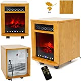 New Fireplace Space Heater Electric 1500W 3D Fire Wood Frame Oak Portable Cabinet