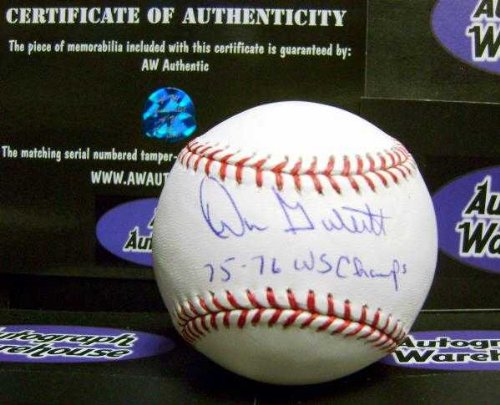 Don Gullett autographed baseball (Cincinnati Reds World Series Champion) inscribed 75 76 WS Champs AW Certificate of Authenticity Hologram OMLB Cincinnati Reds Autographed Baseball