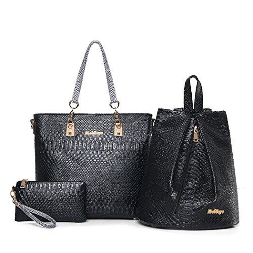 Set y bolsos y 3pcs Bolsos Shoppers de Fekete Mujer Carteras de hombro bandolera mano clutches F5wOCqgx