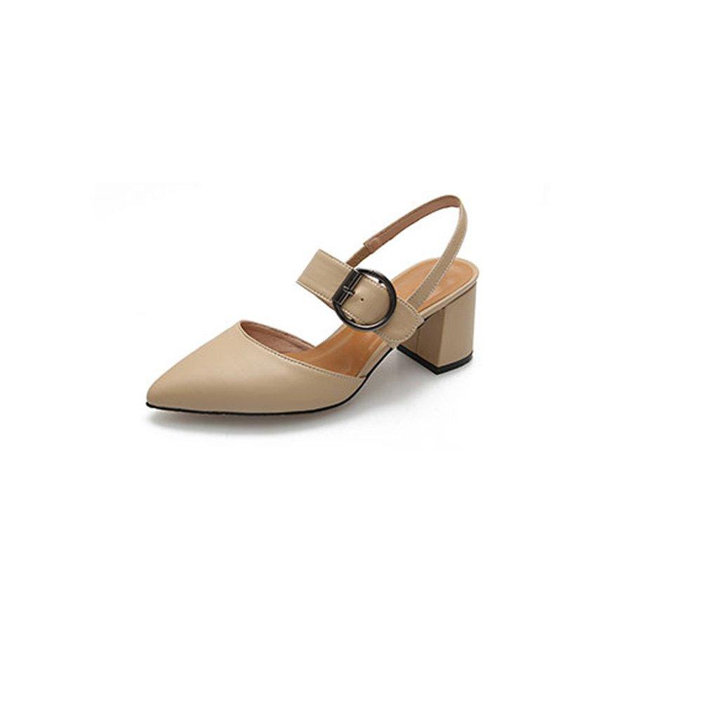 Versión Coreana de Verano de la Palabra acentuada Hebilla Tacones Gruesos con Sandalias de Mujer Salvaje Zapatos Baotou 39 EU|Caqui