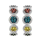Prism Jewel 1.57Ct Round Multicolor Diamond Hoop Earring Hinge With Notched Post, 10k White Gold