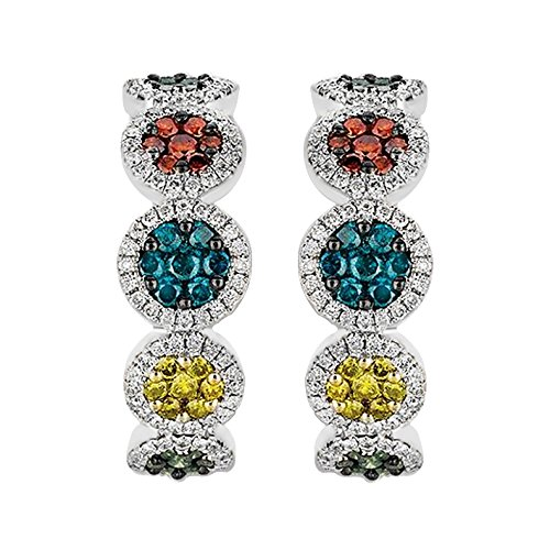 Prism Jewel 1.57Ct Round Multicolor Diamond Hoop Earring Hinge With Notched Post, 10k White Gold by Prism Jewel