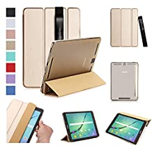 ISIN Tablet Case Series Premium PU Leather Smart Shell Case for Samsung Galaxy Tab S3 9.7 inch SM-T820 T825 Android Tablet with Stylus Holder (Gold)