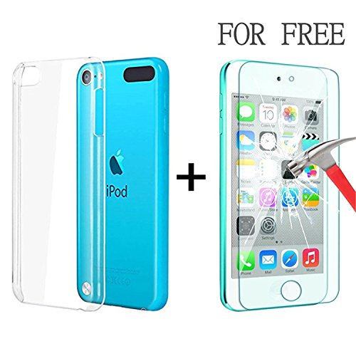 iPod Touch 6 & 5 Case, Asstar [CLEAR SLIM] Crystal Case Anti-Scratch Ultra Clear Bumper High Quality Soft TPU Case Cover for 6th. Bundle with Tempered Glass Film