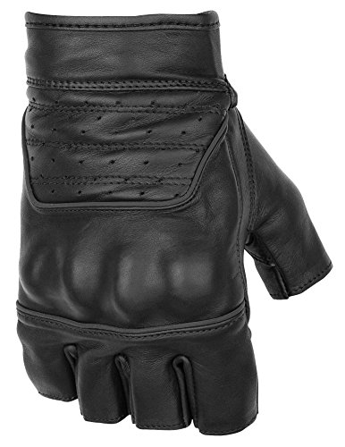 - Black Brand Men's Leather Brawler Shorty Motorcycle Gloves (Black, X-Large)