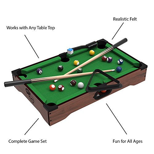 Magnificent Mini Tabletop Pool Set Billiards Game Includes Game Balls Sticks Chalk Brush And Triangle Portable And Fun For The Whole Family By Hey Play Download Free Architecture Designs Scobabritishbridgeorg