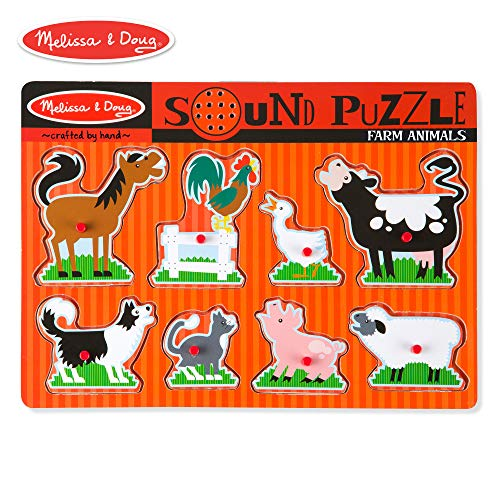 (Melissa & Doug Farm Animals Sound Puzzle - Wooden Peg Puzzle With Sound Effects (8 pcs))