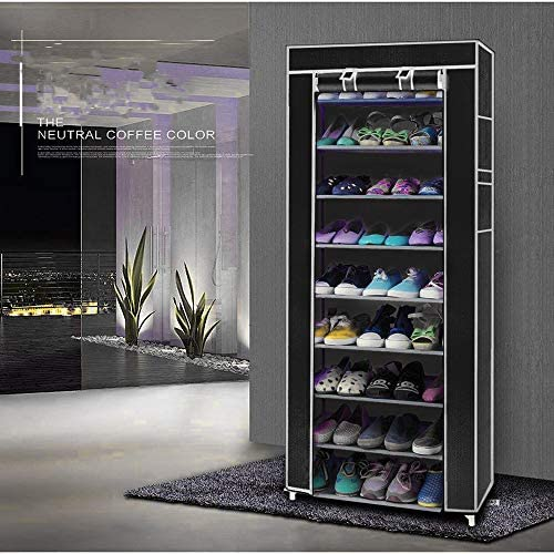Moskado Room-saving 10-Layers 9 Lattices Non-woven Fabric Shoe Rack Black