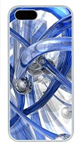 3D Blue Piping Polycarbonate Plastic iPhone 5S and iPhone 5 Case Cover White
