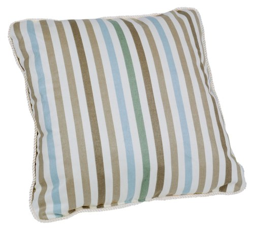 Ellis Curtain Line-Up Stripe Print Toss Pillow, 17 by 17-Inch, Latte - Medium scale multi colored vertically oriented pattern that coordinates wonderfully with solid colors and many contrasting patterns Made with a 100% cotton duck fabric shell and polyester fill inside insures you get a pillow that's durable, plush and inviting A decorative rope corded edge adds a beautiful contrasting finish - living-room-soft-furnishings, living-room, decorative-pillows - 51bqLk7fYjL -