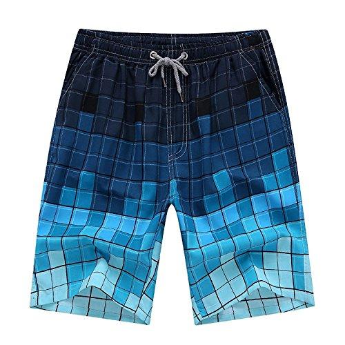 YIMANIE Men's Printing Quick Dry Beach Board Shorts Drawstring Swim (Guys Swim Trunks)
