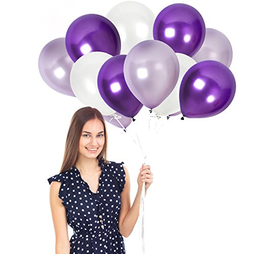 100 Pieces of Shiny and Metallic Latex Balloons Kit ft. 65 Yards Crimped Curling Ribbon Pieces in White and Mixed Purple Latex Balloons | Top Quality Party Decorations for Any Occassion