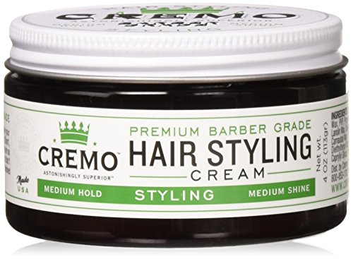 Cremo Premium Barber Grade Hair Styling Cream, Medium Hold, Medium Shine, 4 Ounce