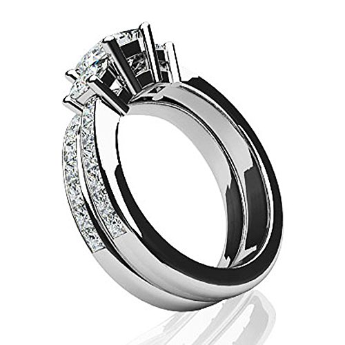 Or blanc 14K Forever Dreaming Coupe Princesse de mariage Ensemble