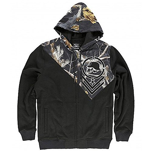 Metal Mulisha Mens Hidden Zip-Up Hoody Zip Sweatshirt Large Black