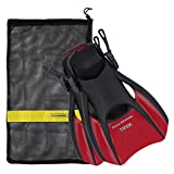 US Divers Trek Travel Fin With Mesh Carrying Bag, Red, Large