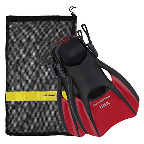 Us Divers Trek Travel Fin With Mesh Carrying Bag  Red  Large
