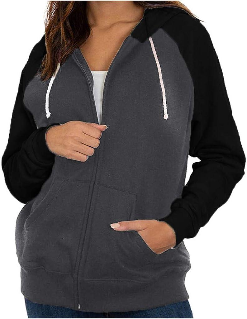 Cromoncent Women Zip Sports Coat Jacket Solid Hoodie Sweatshirts