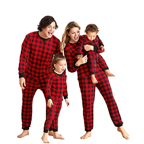 WISREMT Family Matching Christmas Pajamas Sets, Classic Cute Red Plaid Xmas PJs for Family