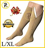 zipper pressure stockings - NEW Open Toe Knee Length Zipper Up Compression Hosiery Calf Leg Support Stocking (L/XL, Beige)