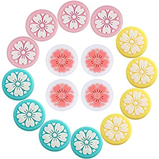 16 Pieces Sakura Flower Thumb Grip Caps, Thumb Grip Caps Analog Thumb Stick Grips Silicone Cover Compatible with Nintendo Switch and Lite, Joy-Con Controller (Pink White Turquoise Yellow)