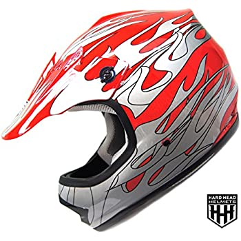 SmartDealsNow - HHH DOT Youth & Kids Helmet for Dirtbike ATV Motocross MX Offroad Motorcyle Street bike RED FLAME (Large)