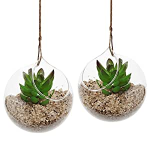 Set of 2 Decorative Clear Glass Globe / Hanging Air Plant Terrarium Planter / Candle Holder - MyGift