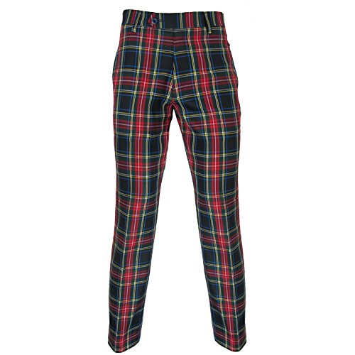 (Murray Golf Pants In Black Stewart Red Tartan 38)