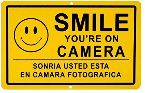 (1 Pc Good Popular Smile You're on Camera Yard Signs Anti-Thief CCTV Warning Anti-Burglar Size 11