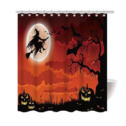 Gwein Halloween Night Theme Flying Witch Pumpkin Witherbark Decorative Bathroom Mildew Resistant Fabric Shower Curtain Waterproof