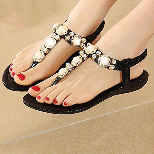 Sandals xiaolin Female Summer Flat Toe Female Korean Version Korean Diamonds Female Holiday Tide(Optional Size) 03 LzOcu
