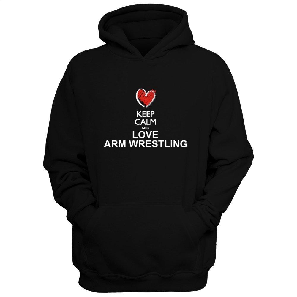 Idakoos Keep Calm and Love Arm Wrestling chalk Style - Sports - Hoodie