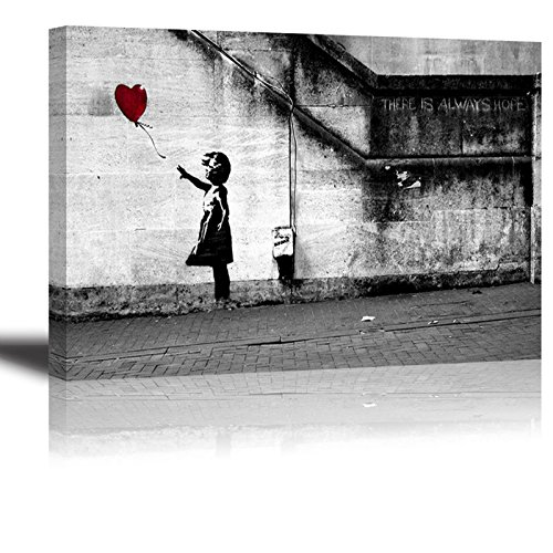 Banksy Canvas Wall Art for Bedroom, PIY Red Balloon Girl Home Decor of THERE IS ALWAYS HOPE Picture, Waterproof Giclee Print Oil Paintings, Ready to Hang