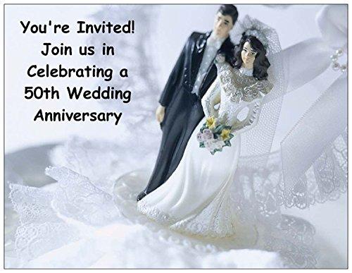 Black and White 50th Wedding Anniversary Invitations - 50/pack