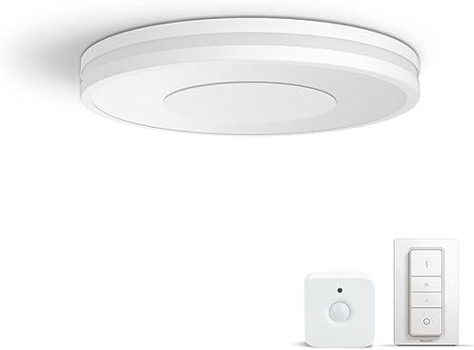 Philips Hue LED Deckenleuchte Being inkl. Dimmschalter und Sensor, dimmbar, alle Weißschattierungen, steuerbar via App, weiß, kompatibel mit Amazon