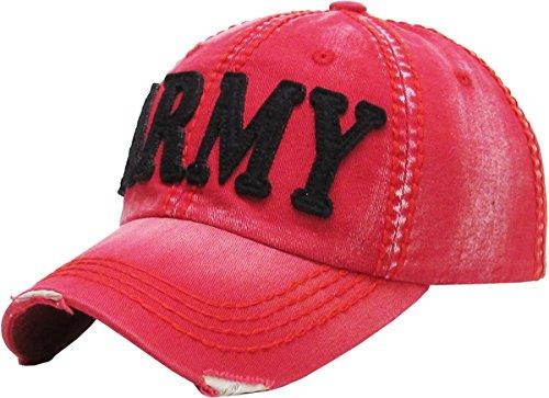 Vintage Hat Era (KBVT-689 RED Fashion Vintage Baseball Cap Distressed Washed Dad Hat Adjustable)