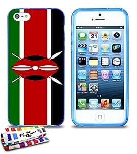 Carcasa Flexible Ultra-Slim APPLE IPHONE 5S / IPHONE SE de exclusivo motivo [Bandera Kenia] [Azul] de MUZZANO + ESTILETE y PAÑO MUZZANO® REGALADOS - La Protección Antigolpes ULTIMA, ELEGANTE Y DURADERA para su APPLE IPHONE 5S / IPHONE SE