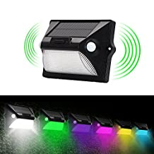 Everestor Solar Color Lights, [Double Sensor Head 12 LED 210 Wide Angle 3 Modes] Wall lights Powered Motion Sensor Lights, IP65Waterproof Wireless Security Solar Energy Night Light for Outdoor Patio GardenYard Home Stairs Deck Driveway Pool Lawn Garage Gate Outside