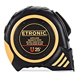 Etronic 25-Foot-by-1-Inch Tape Measure (Auto Lock, Magnetic Hook, Double Sided Blade, Nylon Bond Blade)